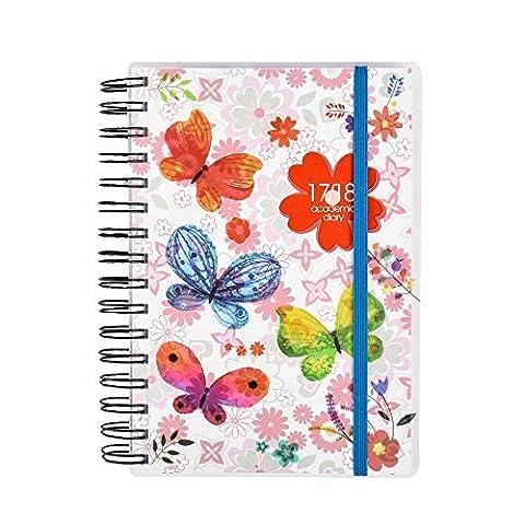 Agenda 2017–2018 un jour par page, Format A5 en spirale de mi-parcours d'année académique pour étudiant et enseignant avec une page complète de samedi et dimanche par Arpan a5 Butterfly/Floral