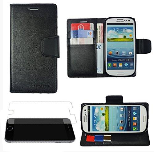 Für Samsung Galaxy Book Tasche Handy Hülle Etui Flip Cover Klapptasche Galaxy Alpha G850 Schwarz + Displayschutzfolie Braun + Displayschutzfolie