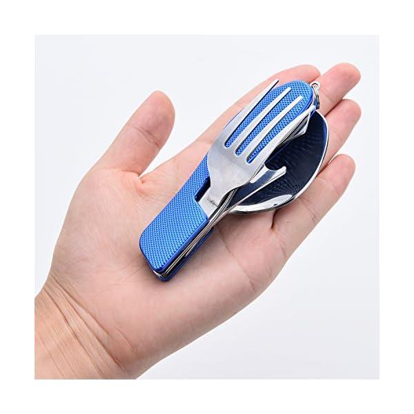 HIKENTURE Juego de Utensilio de Campamento 4 en 1 en Acero Inoxidable: Tenedor, Cuchillo, Cuchara, Abrebotellas, con… 5