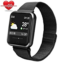 Sport Smartwatch,Miya Smart Watch IP68 Waterproof Fitness Tracker with Heart Rate Monitor Step Calories Counter Watch Remote Camera Call Remind Sport Bracelet for iPhone Samsung Huawei,Black