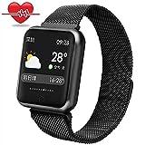 Fitness Armbanduhr wasserdicht,Miya IP68 Bluetooth Smartwatch intelligente Armbanduhr Farbe Touchscreen Blutdruck Uhr Herzfrequenz Messgerät Sport Fitness Tracker, für Android und IOS(Schwarz)
