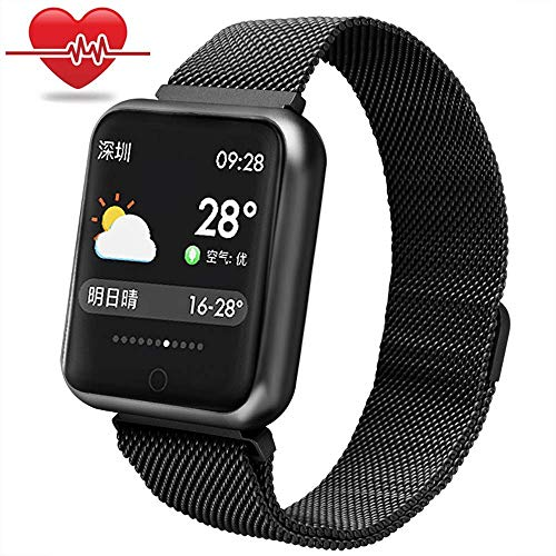 Fitness Armbanduhr wasserdicht,Miya IP68 Bluetooth Smartwatch intelligente Armbanduhr Farbe Touchscreen Blutdruck Uhr Herzfrequenz Messgerät Sport Fitness Tracker, für Android und IOS(Schwarz)