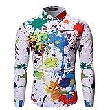 DNOQNHerren Freizeit Herbst Poloshirt T Shirt Lang Herbst und Winter Mode Gedruckt Langarm Shirt Bluse L