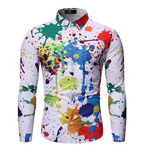 TOALOL Camicia Uomo Slim Fit Manica Lunga Elegante Stampa Tie-Dye Risvolto Button Down Casual Moda S-2XL(X-Large,Bianca)
