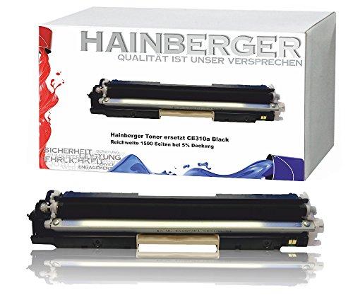 Hainberger Black Toner kompatibel zu HP CE310a für HP LaserJet Pro 100 Color MFP M175, Pro M275, Color LaserJet Pro CP1021, CP1025, CP1028 - CE310A-CE313A - Schwarz 1.200 Seiten, Color je 1.000 Seiten (Hp Color Laserjet Black Toner)