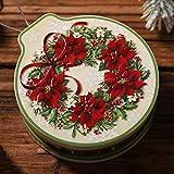 Scatola di latta rotonda per candele, biscotti, biscotti, da appendere all'albero di Natale, contenitore per monete e tè