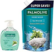 Palmolive Naturals Sea Minerals Liquid Hand Wash, 250ml Pump with 750ml Refill Pack, Removes 99.9% Germs, Refr