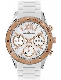 Jacques Lemans Unisex-Uhr Chronograph Quarz mit Silikonarmband – 1-1586R