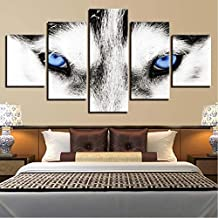 Wuwenw Hd Prints Canvas Painting Home Decoration For Living Room 5 Pieces Husky Eyes Wall Art