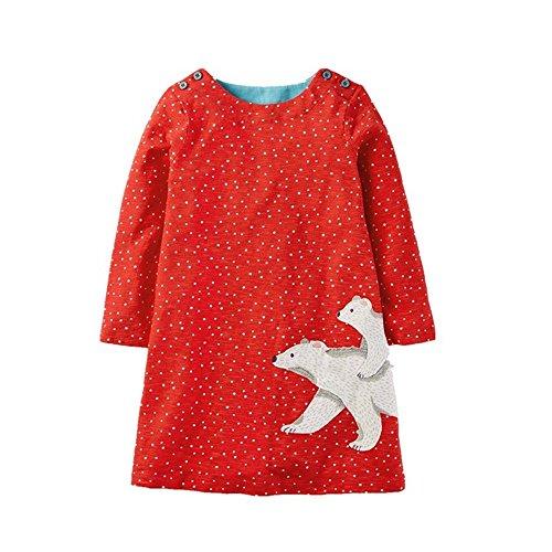 VIKITA Mädchen Baumwolle Langarm Streifen Tiere T-shirt Kleid JM7502 6T (Mädchen Shirt Schickes)
