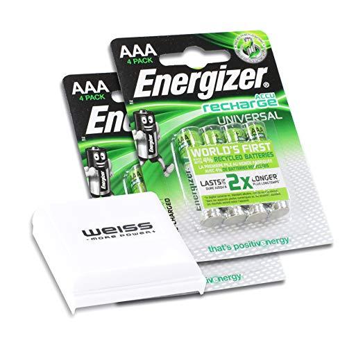 Energizer E301375700 NiMH-Akku Rechargeable Universal Micro (1.2V, 500mAh, vorgeladen, 2X 4er-Packung inkl. 1x praktische Akkubox von Weiss - More Power +) Energizer Recharge