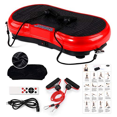 GENKI Vibrationsplatte Vibrationsgerät, Profi 3D Vibrationstrainer, inkl. Trainingsbänder Übungsposter Fernbedienung-150kg, Rot