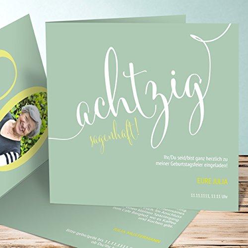 Preisvergleich Produktbild Einladungskarten zum 80 Geburtstag selber machen, Sagenhafte Achtzig 5 Karten, Quadratische Klappkarte 145x145 inkl. weiße Umschläge, Grün