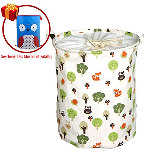 Eule-geschenk-korb (Aisi faltbar Wäschekorb ( 1 Stück Eule-Muster Wäschekorb + 1 Geschenk: zufällig ) Das Geschenk ist auch ein Aufbewahrungskorb, aber das Muster ist zufällig)