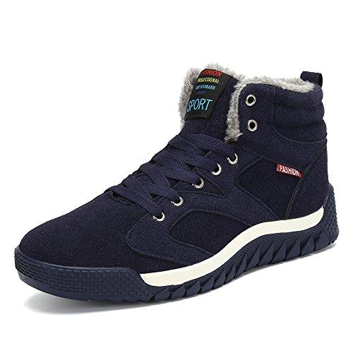 SAGUARO® Uomo Stivali da Neve Invernali Scarpe Allineato Pelliccia Caloroso Caviglia Piatto Stivaletti Sportive Boots (44 EU, Blu)