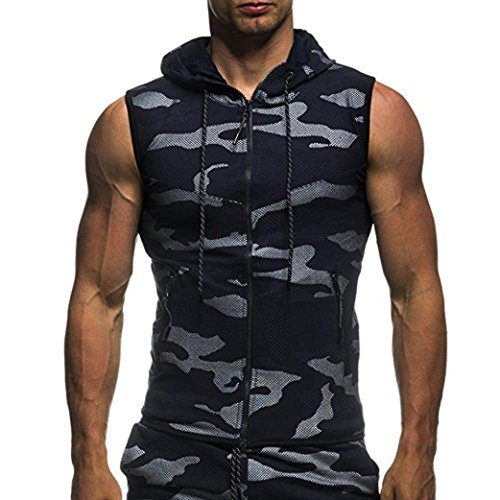ZIYOU Herren Camouflage Drucken Pllover mit Kapuze, Casual Ärmellos Hoodie T-Shirt Top Weste Bluse(M,Navy Blau)