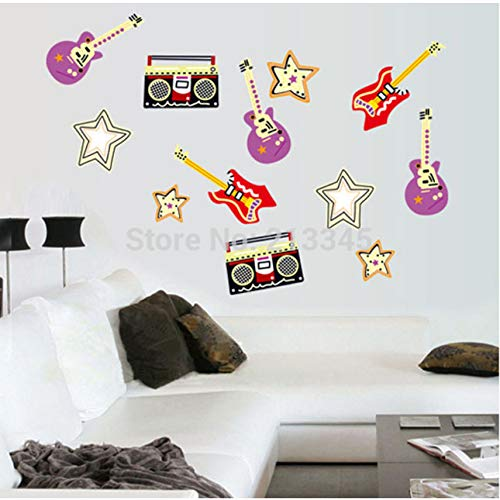 (Cczxfcc Abnehmbare Kreative Musik Wand Aufkleber Schlafzimmer Musik Zimmer Dekor Aufkleber Kunst Gitarre Sound)