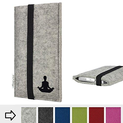 Tablethülle COIMBRA mit Yoga Asana Pose Lotussitz und Gummiband-Verschluss für Shift Shift7+ - Filz Schutz Case Etui Made in Germany in hellgrau schwarz gelb - handgefertigte Tablet Tasche für Shift Shift7+