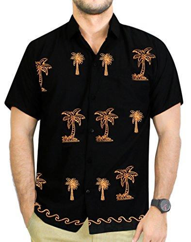 La Leela Strand Hawaiihemd Herren XS - 5XL Kurzarm Front-Tasche Hawaii-Print Casual Button Down Hemd Schwarz 5XL P028 (Besticktes Hawaii-hemden)