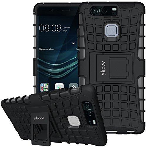 ykooe Hülle für Huawei P9 (TPU Handyhülle) mit Ständer Stoßfest Schutzhülle (Schwarz)