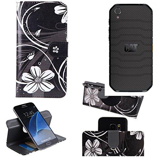 K-S-Trade® Schutzhülle Für Caterpillar Cat S41 Single-SIM Hülle 360° Wallet Case Schutz Hülle ''Flowers'' Smartphone Flip Cover Flipstyle Tasche Handyhülle Schwarz-weiß 1x