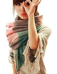 Malloom® Mujeres caliente Mantas Pashmina bufanda larga, tartán enrejado mantón (azul)
