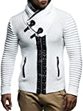 LEIF NELSON Herren Strickjacke Jacke Pullover Hoodie mit Nieten Sweatshirt Biker-Style Gesteppt LN5165; Größe M, Ecru-Grau
