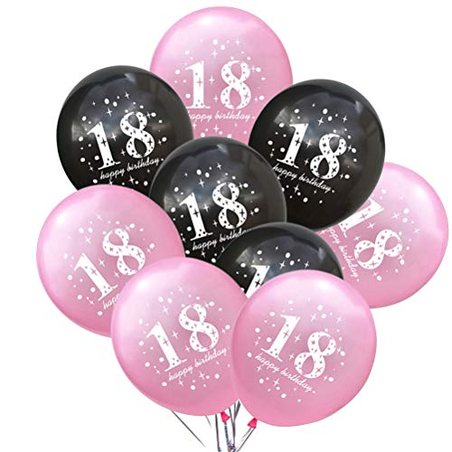Toyvian 18. Geburtstag Ballons Latex Anzahl Geburtstag Party Ballon Dekorationen 12 Zoll 20 Stücke (Rosa und Schwarz) (Ballon-dekorationen Rosa Schwarz Und)