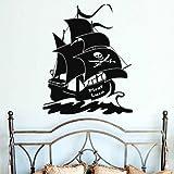 Piratenschiff mit Wunschnamen 70x60cm - Farbe: Schwarz