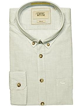camel active Herren Freizeit Hemd Shirt Langarm Fitted 365162 gestreift grün