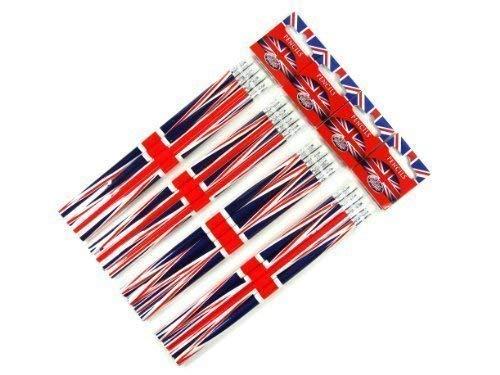 LONPEN002 Bleistift-Set, Union Jack-Design, London Souvenir-Kollektion, 4 Packungen mit 4 Bleistiften -