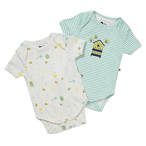 Piccalilly Organic Cotton Jersey Short Sleeve Baby Bodysuit 2 Pack Set Unisex Honey Bee