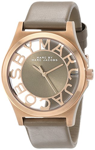 Marc Jacobs MBM1245Damen Uhr mit Edelstahlarmband/Leder, beige/grau