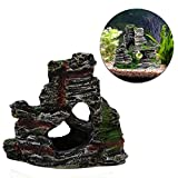Berrose-1 Stück Berg Aussicht Aquarium Steingarten Höhlenbaum verstecken Aquarium Ornament Dekoration-Aquarium Dekoration, Wohnaccessoires (11 cm * 9,5 cm * 5,5 cm, D)