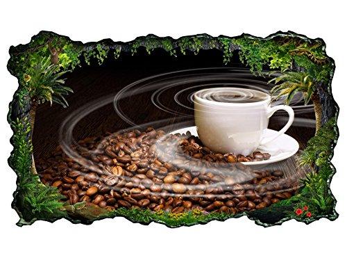 3D Wandtattoo Kaffee Tasse Coffee Bohnen Küche Bild selbstklebend Wandbild sticker Wohnzimmer Wand Aufkleber 11H287, Wandbild Größe F:ca. 97cmx57cm