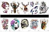 Grasshine 10pcs Tätowierung Rotwild vorübergehendes tatoo in einem Paket, einschließlich Krieger, Schädel mit Blumen, schönen Gürteln, Rotwild, Pferd, Eule, Wolf, etc.