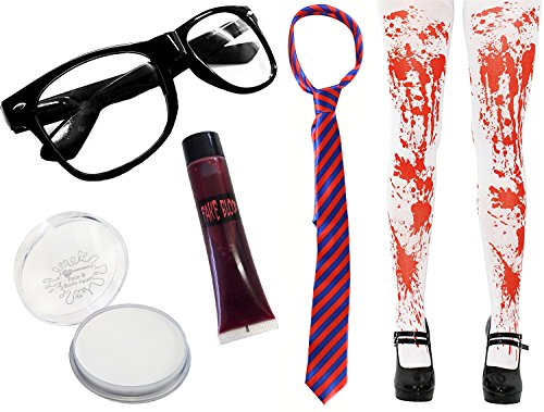 I love fancy dress ilfd-zombsg-2186-blrd-tights zombie scolaretta set travestimento per halloween (taglia unica)