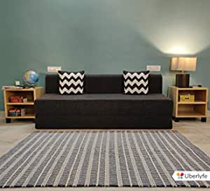 uberlyfe Sofa Cum Bed - 3 Seater, 6'X6' Feet- with 2 Cushions (Zigzag Pattern) - Jute Fabric   Dark Grey- Perfect for Guests