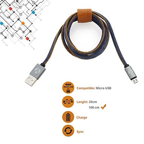 YZSY Deluxe Micro-USB auf USB Ladekabel Hochwertiges Datenkabel Android-Kabel Schnelladekabel für in einzigartigem Design 100 cm - Blue Jeans