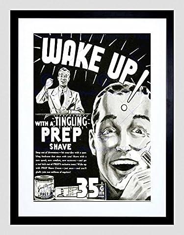 ADVERT SHAVE PREP BATHROOM BLACK WHITE RAZOR WAKE UP FRAMED ART PRINT B12X5996