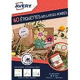 Avery Lot de 60 Etiquettes Cadeaux Imprimables Rondes - Ø6cm - Brillant - Blanc (J8105MC)