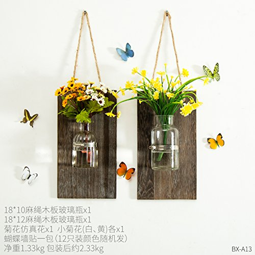 Xmjr Wall Decoration Creative Wall Water-pui Vases Walls Transparent Glass Decorations Container Wall Glass Plant Saucers Underneath Flower Pots, Water Pui-glass Daisy Combination