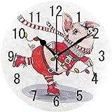Pam9877ga Wanduhr aus Holz, Motiv: süßes Schweinchen mit Schlittschuhen, rund, 30,5 cm, für Wohnzimmer, Küche, Schlafzimmer, Büro, Schule