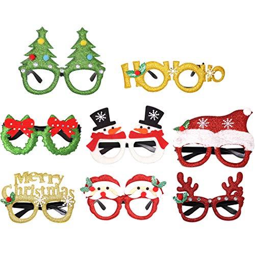 Joyibay 8 Paar Weihnachtsfeier Gläser Mode niedlichen Cartoon Sortiert Kostüm Gläser Weihnachtsdekoration - Niedlichen Cartoon Paar Kostüm