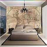 Mural 3d personalizado Mapa del mundo retro europeo Carta de navegación mural decoración pintura salón restaurante papel tapiz-200X140CM