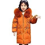LPATTERN Winter Mädchen Daunenjacke Warme Pelzkragen Lange Kinder Jacke, Karamell Farbe, 122/128(Fabrikgröße: 130)