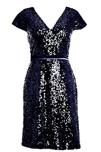 MACloth Elegant Cap Sleeve Sequin Bridesmiad Dress Cocktail Party Formal Gown Dark Navy