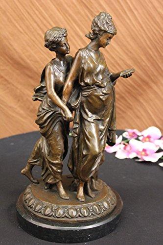 Statua di bronzo Scultura...Spedizione Gratuita...Originale firmato base di marmo antico greco Donne(YRD-741-EU)Statue Figurine Figurine Nude per ufficio e casa Décor Primo Giorno Collezionismo Artic - Antico Firmato