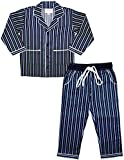 ShopMozo - Blue Striped Cotton Unisex Night Suit (Night Wear Dress Boys and Girls_9-10Y )