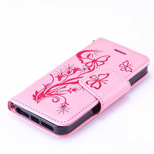 iPhone 55S se Support avec Bumper plaqué, newstars 3en 1Coque antichoc ultra fine Texture PC Coque arrière de protection rigide Shell Housse Coque protection tous les rond rotatif à 360° pour iPho X2- Pink Glitter Butterlies